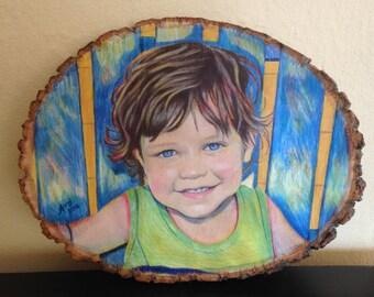 Custom Portrait Drawing on Rustic Wood Slice, Custom Color Portrait, Drawing on Wood, Portrait from Photo