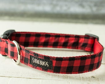 Red and Black Buffalo Plaid Dog Collar, Red and Black checkered
