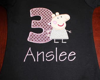 Peppy Pig Birthday Shirt for Infant and Toddler