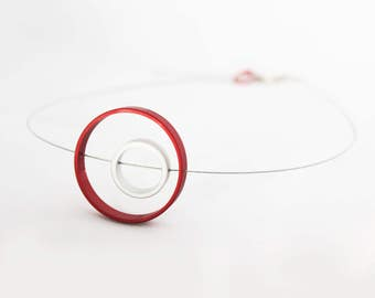 CONTEMPORARY Urano Necklace - Contemporary design - Red necklace - Bold jewelry - Geometric design - Art jewelry - Statement jewelry - Urban