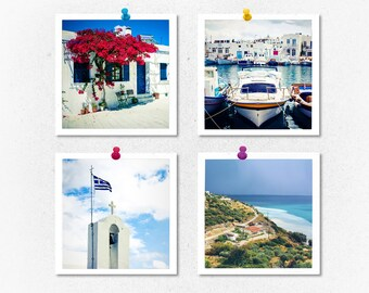 Greece photography, print set, Greece pictures, set of 4 prints, square print, travel photography, square photos, small prints, gift, Greece