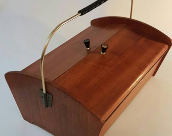 Original  1960s Mid Century Sewing box with storage Container- Scandinavian Design - Vintage Wood Box - Eames Era