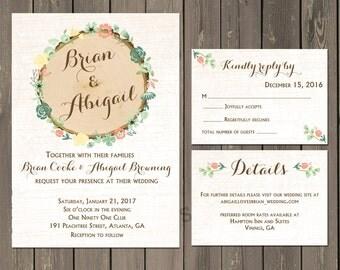 Wood Slice Floral Wedding Invitation Suite, Rustic Wood and Floral Wedding Invitation, Rustic Bridal Shower, RSVP Card, Printable