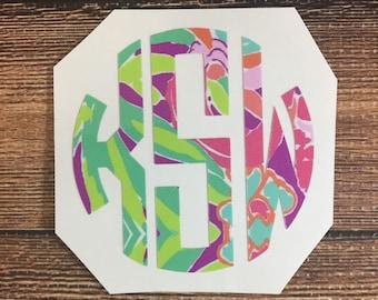 Yeti Monogram Decal Lilly Pulitzer Preppy Monogrammed Stickers