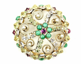 Signed Schreiner Scroll Brooch, Hyacinth, Pink, Clear Crystal Rhinestones, Green Cabochons, Faux Pearls, Vintage