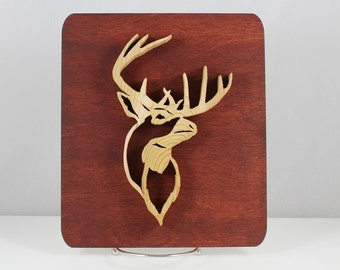 Deer Head on Plaque Scroll and Laser Art