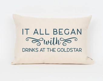 2nd Anniversary Cotton Gift, Custom Wedding Gift, First Date Memory, Custom Pillow, Personalized Pillow, It All Began With, Husband Gift
