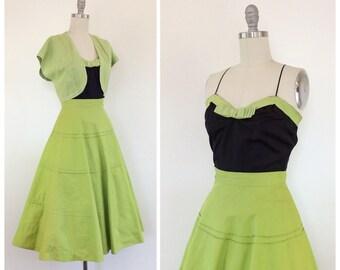 50s Chartreuse & Black 3 Piece Skirt Set / 1950s Vintage Cotton Sun Summer Dress / Small / Size 4