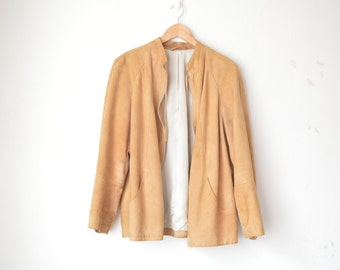 tan brown suede leather oversized vintage jacket 70s // M-L