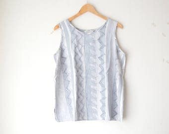 gray graphic print oversized tank top shirt 80s // L-XL