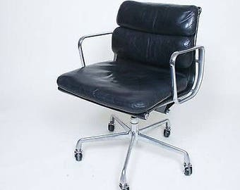 Eames Herman Miller Soft Pad Aluminum Group Chair Black Leather