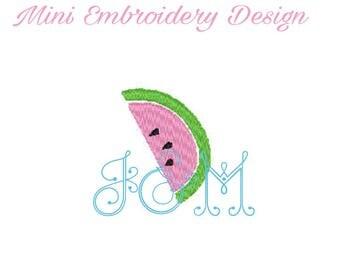 Mini Watermelon Slice Fill Stitch Embroidery Design