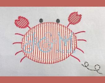 VIntage Style E stitch Crab Appliique Design