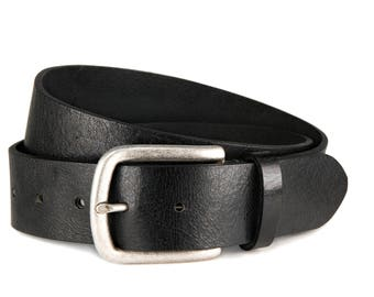 Black leather jeans belt thick durable vintage leather