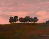 Landscape small original painting 4x6 art, framed art, pink, rust, red, black, field and trees, rural, country, hill, sunset, evening sky