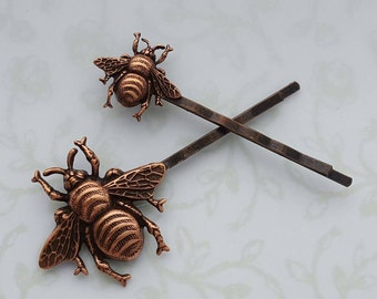 Copper Bumble Bee Bobby Pin Set, Hair Clip Woodland Hair Pin Boho Rustic Wedding Bridal Hair - Sweet As Honey, The Bees Knees