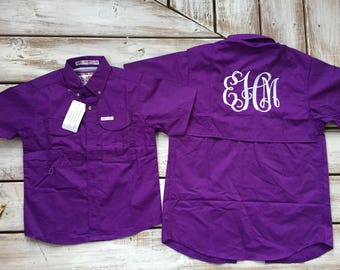 Monogram columbia fishing shirt pfg shirt oversized coverup for Baby fishing shirts columbia