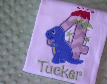 Dinosaur Appliquéd Birthday Shirt- Personalized