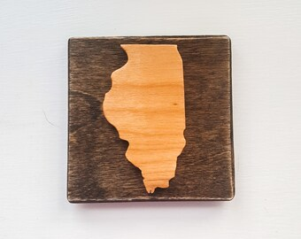 Illinois Fridge Magnet, Illinois Locker Magnet, Wooden State Magnets, Rustic Illinois Magnet, Chicago Souvenirs
