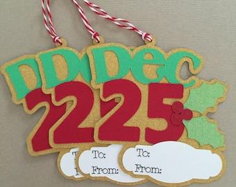 Set of Christmas Tags, December 25th, Paper Piecing, Die Cut, PreMade