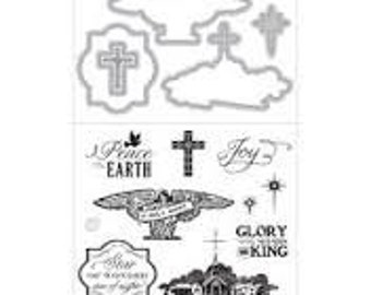 PEACE ON EARTH Dove Cross Glory to the King Stamp and Cut Die Set by Art-C by Spellbinders cc22 SD006