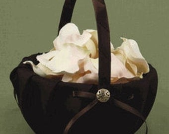 Mocha Chocolate Brown Satin Wedding Flower Girl Basket