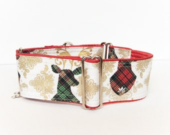Reindeers martingale collar (dog collar, greyhound martingale, Christmas winter plaid red green hipster shabby chic gold metallic stripes)