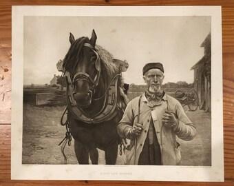 "1893 Photogravure ""Bijou and Honoré"" 11x13.25 (Horse, Farm)"