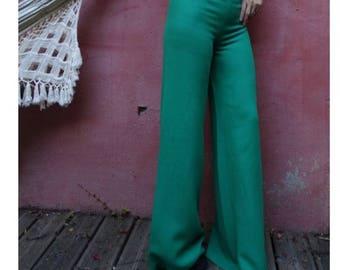 1970's vintage green disco flares bellbottoms size 8 : Charles Robin -Paris