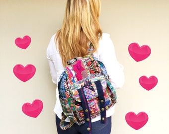 Patchwork Backpack Upcycled Huipil - Guatemala (095P)