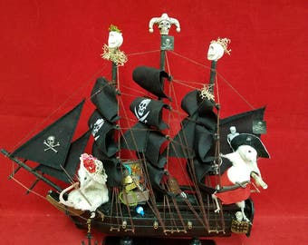 Taxidermy Mouse Pirate ship w/hostage and treasure-Anthropomorphic-Diorama