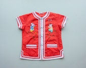 Vintage 60's 70's Coral Watermelon Chinese Asian Kimono Jacket / Embroidered Appliques / Cheongsam Short Sleeves / 6 2t 3t Toddler Girl