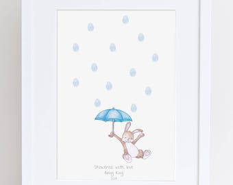 Baby Shower Keepsake art, Rabbit and umbrella thumb/finger print rain drops, Baby shower activity, nursery art, baby decor,custom art, print