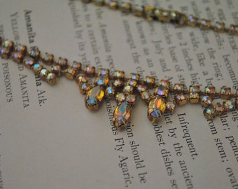 Vintage Aurora Borealis Rhinestone Necklace - 1950s Regency Costume Jewelry