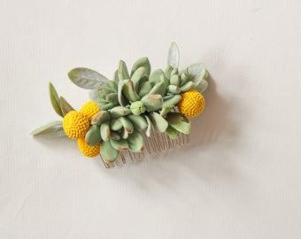 Bridal hair comb Wedding hair comb Succulents comb Yellow green bridal comb hair comb Wedding hair piece Headpiece