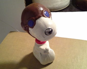 Vintage Snoopy Nodder, Bobble Head, Snoopy Red Baron Ceramic Nodder, Vintage Peanuts Bobble Head,  1966