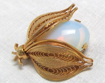 Signed Napier Bug Brooch Faux Moonstone with Filigree Wings