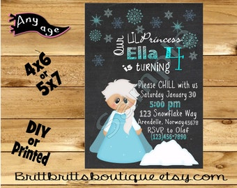 Ice Princess Invitation first Birthday party Invitations winter Custom Birthday invite 4x6 or 5x7 Digital OR Printed with envelopes