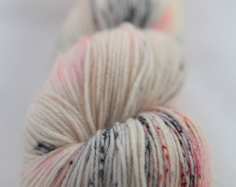 Hand-dyed yarn - superwash merino - dyed-to-order - sock yarn - speckles - BALLERINA