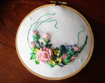 Handmade Ribbon Embroideried Picture