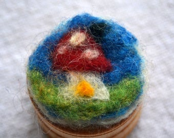 Needle felted treasure box waldorf inspired with a toadstoolhouse and snail