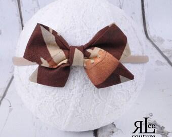Football Bow - Folded Sailor Bow - Hair Bow - Sailor Headband - Clip