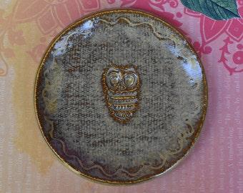 Owl spoon rest. Ceramic Owl. Ring holder. Owl ring dish. Ceramic Owl trinket dish. Teabag holder. Little Owl plate.