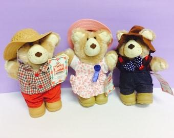 Furskins Bears, 1980s Teddy Bear, Furskin Teddy Bear, Bear Set, Wendy's Furskins, 1986 Furskin, Farrell Furskin,Hattie Furskin,Boone Furskin