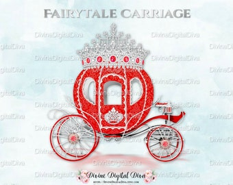 Red Silver Prince Princess Cinderella Fairytale Carriage Coach | Diamond Crown Tiara | Clipart Instant Download