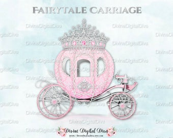 Pink Silver Prince Princess Cinderella Fairytale Carriage Coach | Diamond Crown Tiara | Clipart Instant Download