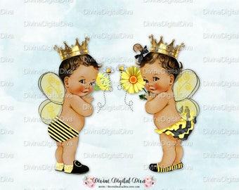 Queen Bee Prince Bee Baby Boy & Girl | Bumble Bee Yellow Black | Medium Tone | Gender Reveal Baby Shower | Clipart Instant Download