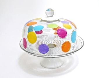 Polka Dot Cake Dome Set | Cake Pedestal | Hand Painted Glass | Rainbow Polka Dots