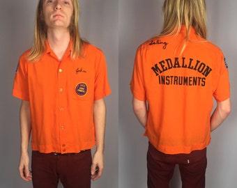 Vintage King Louie Orange Bowling Garbadine Shirt Size Medium Rockabilly