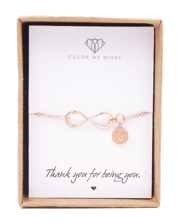 Personalized Rose Gold Infinity Bracelet - Infinity charm, engagement jewelry, forever love, bridal, bridesmaid, best friends - B0006RG